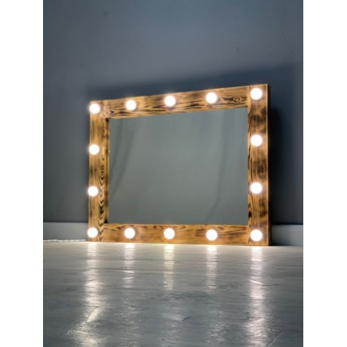 Гримерное зеркало 90x70 цвета кофе с подсветкой 14 ламп по периметру