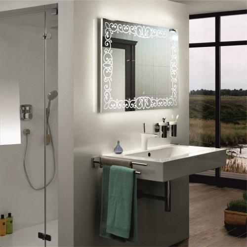 Зеркало в ванную комнату с подсветкой светодиодной лентой Каролина